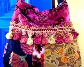Pretty Velvet Floral Velvet Gypsy Bag