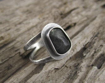 Greenstone Double Banded Sterling Silver Handmade Ring No. 2