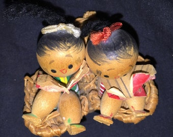 Vintage Asian Wood Dolls