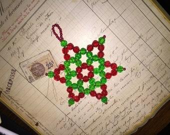 Vintage Beaded Star Christmas Ornament