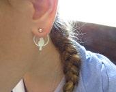 Ear jacket silver earrings, trendy earrings double sided, bird earrings, everyday earrings