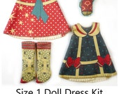 Amelia Thimble Dress KIT Size 1: Doll Dress Clothing Sailor Girl for Tiny Dolls