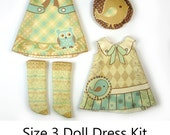 KIT Size 3: Doll Dress Clothing Kit Vintage Birds pattern for small dolls