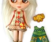 Blythe Dress KIT Size 4: Doll Dress Clothing Kit Circus for Neo Blythe and similar dolls