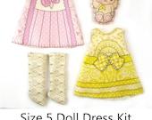 KIT Size 5: Doll Dress Clothing Kit Lavender & Lemon pattern for dolls