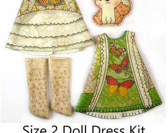 Pukipuki Dress KIT Size 2: Doll Dress Clothing Kit Butterfly Catcher pattern for small dolls