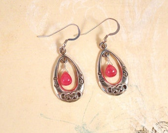 smooth genuine ruby drop and sterling silver dangle earrings - July birthstone