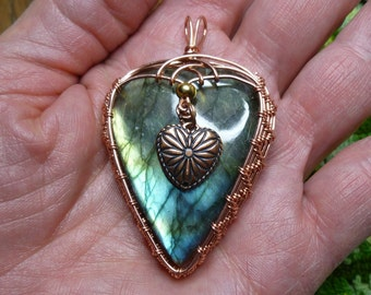 copper wire weave wire wrap labradorite heart-in-a-heart pendant