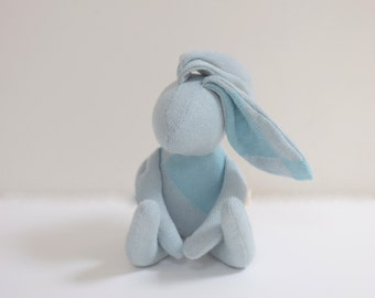 Small bunny handmade stuffed bunny Rabbit hare soft cloth doll toddler baby shower gift  blue upcycled silk cashmere sweater bubynoa bunny