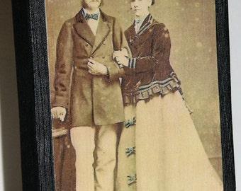 Primitive Style Standing Wood Block Victorian Couple He In Top Hat