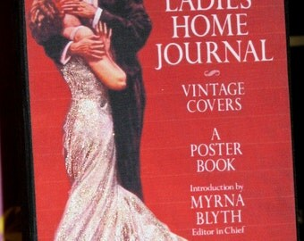Primitive Style Standing Wood Block Vintage Magazine Cover Dazzling Glamour Couple Embrace