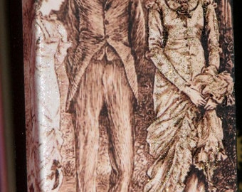 Primitive Style Standing Wood Block Victorian Young People Out For A Stroll Illustration