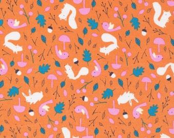 Forest Friends - Sweet Autumn Day - Cloud9 Fabrics - Little Cube - Organic Cotton - Squirrels Acorns Leaves Pink Orange