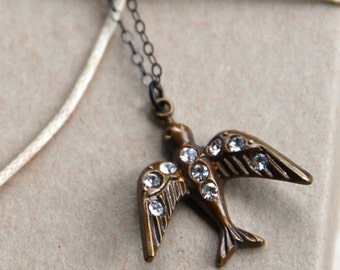 Crystal bird necklace,pendant,layering necklace sterling silver necklace. TIedupmemories