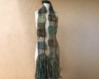 Green and Grey Scarf, Hand Knit Scarf with Khaki and Sage Grey Green Scarf with Fringe Scarf