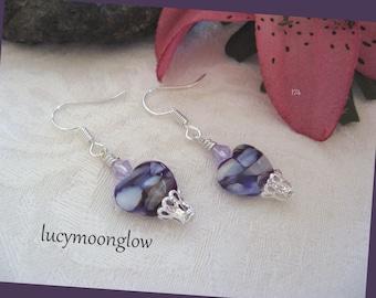 Purple Mother of Pearl Shell Heart Earrings