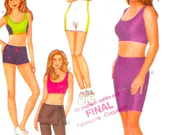Unitard Top skirt pants shorts for Athletics yoga Exercise Cathy Ireland Butterick 6579 gym clothing sewing pattern UNCUT Bust 34 to 38