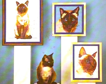 Siamese Cats needlepoint and cross stitch pattern booklet 80s Something special Leaflet 90001 Charted cross stitch cat lover gifts