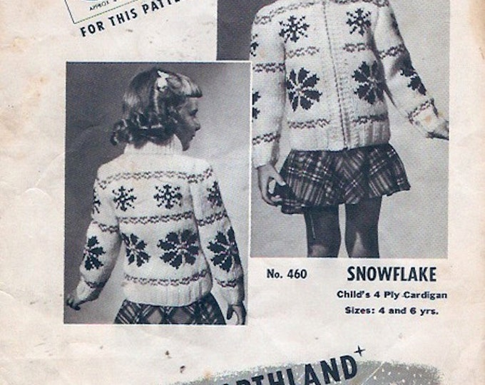 Vintage Snowflake Cardigan Childrens Mary Maxim no 460 4 ply Graph Knitting Sweater Pattern Vintage 60s GirlsSize 4 and 6 years
