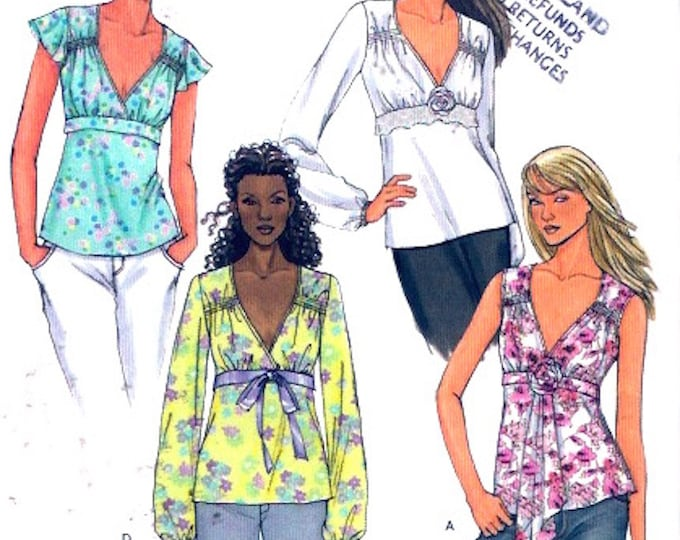 Summer Casual tops and flower Chic style sewing pattern Butterick 4454 Sz 14 to 20 UNCUT