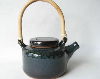 Pottery Teapot, Stoneware Teapot, Handmade Teapot, 3 Cup Teapot, Blue Teapot, Bamboo Handle