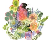 bird art, plants, colorful, peach, green, lavender,Grackle and Succulents Archival Large garden art print