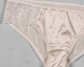 SALE- size small silk bikini brief panties- white off-white ivory mesh knickers with lace, low rise knickers, wedding bridal lingerie