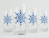 Snowflake Glasses - Set of 4 Holiday Glasses, Blue and Silver Snowflake Glassware Holiday Glassware, Christmas Glasses, Snowflakes, Holidays