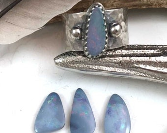 Custom Australian Opal Sterling Silver Wide Band Ring, Any size, boho, gypsy, bohieman, bohostyle, metalwork, handmade