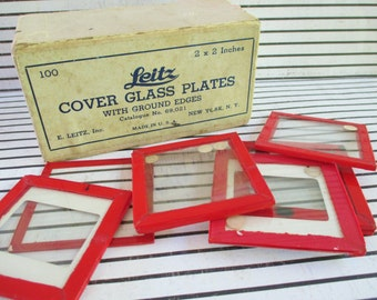 SALE Box of Vintage Leitz Cover Glass Plates