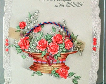Vintage 1940s or 50s Birthday Greeting Card Roses For Daughter Basket of Flowers with Real Twine
