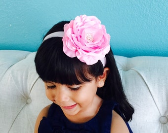 Large Flower Headband, Pink Flower Headband, Pink Ranunculus, Oversized Flower Headband, Wedding Headband, Flower Girl Headband, Christmas