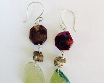 Garnet Ancient Roman Glass Pyrite Earrings