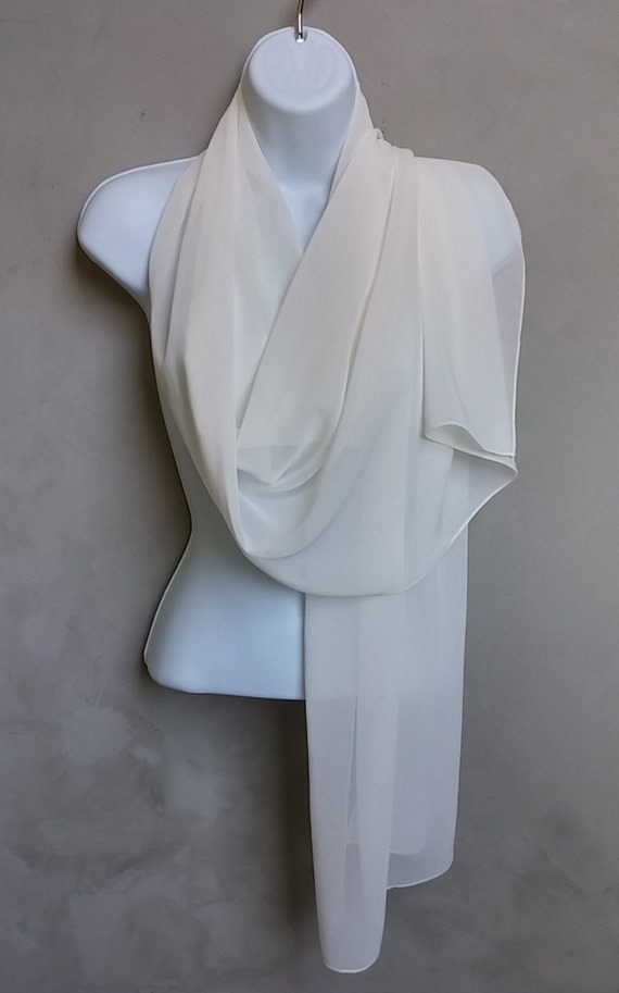 Ivory Chiffon Wrap Scarf - 71 X 19 inches - Sheer Lightweight Ivory Shoulder Scarf Wrap