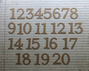 1 3/8 inch tall SERIF bare chipboard numbers [choose quantity]