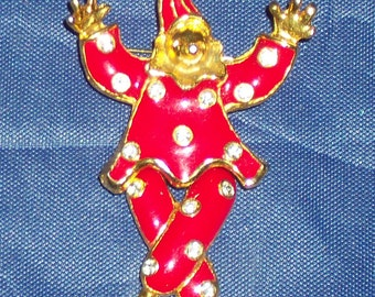 Enamel Clown Pin Clown Brooch Movable Clown Pin Red with Diamonds Clown Outfit Adorable Red Clown Pin Brooch