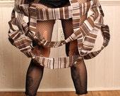 Tattered Doll Marie Antoinette Cage Skirt, brown stripe hoop skirt, Tea Party Costume, Steampunk Bride, Neo Victorian, gothic lolita skirt