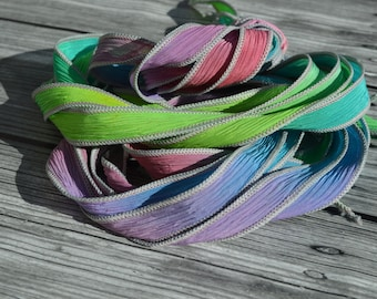SWEET PEA Silk Ribbon Wraps, Qty 5 Crinkle Crinkle Ribbons, Hand Dyed Ribbon, JamnGlass Watercolor Silk, Necklaces, Silk Wraps or Bracelets