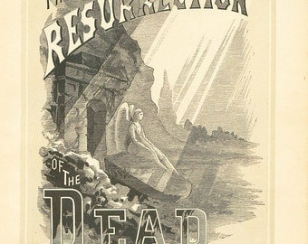 Antique Religious Print Resurrection 1883 Steel Engraving Vintage Christian Book Plate