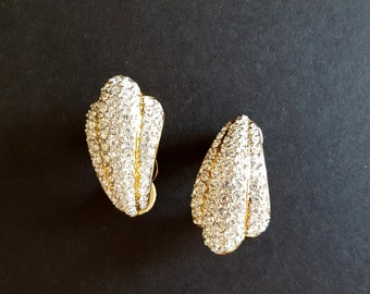 Swarovski Statement Gold Clip Earrings {Vintage Bridal Jewelry Austrian Crystals Sea Shell Clear Crystal Pavé Christmas Gift for Her}