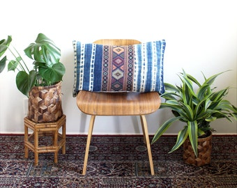 Kilim Pattern, Vintage Indigo Tie Dye, Kilim Pillow Cover, Linen Lumbar Pillow, 16x26, Rose Gold, Bohemian Decor, Tie Dye Pillow, Boho Home