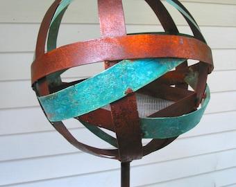 Sculptural Steel & Copper Bird Feeder N0. 332 Freestanding spherical modern bird feeder globe