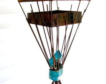 Sculptural Steel & Copper Bird Feeder No. 339 - Freestanding unique modern birdfeeder