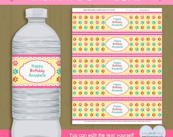 paw print water bottle Labels or napkin wrappers INSTANT DOWNLOAD  kitten animal dog pet theme printable #P-39 - you can edit text from home