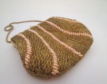 Gold Bead Bag, Vintage Gold Evening Bag, Pearl Bag, Bridal Bag, Beaded Purse, wedding bag, prom bag, formal purse, gold purse, pink bag