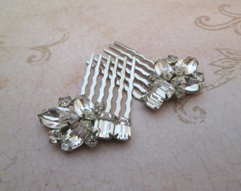 Crystal Hair Combs Vintage, 1950s, Sherman Jewelry, rhinestone haircomb, small hair comb, Wedding hair accessories, bridal hair comb