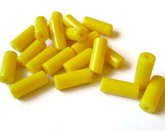 20 15mm Yellow Tube Beads Vintage Plastic Bead Yellow Plastic Beads Old New Stock Beads Beading Supplies Vintage Beads