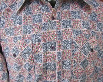 Vintage Western Floral Shirt 1970s Mens Panhandle Slim USA Patchwork Cowboy Long Sleeve 42 M