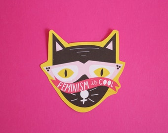 Feminism is Cool Cat Sticker Matte Finish Hand Cut