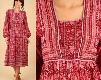 ViNtAgE 70's Indian Cotton Dress // ZoDiAc Deadstock // Gauze Cotton Poet Slv Red Gypsy Festival Dress HiPPiE BoHo Small S New Old Stock NOS